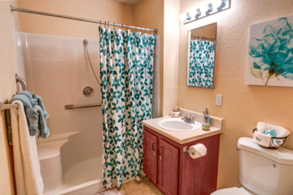 Resident bathroom at The Villas at Sunset Bay in New Port Richey, Florida.