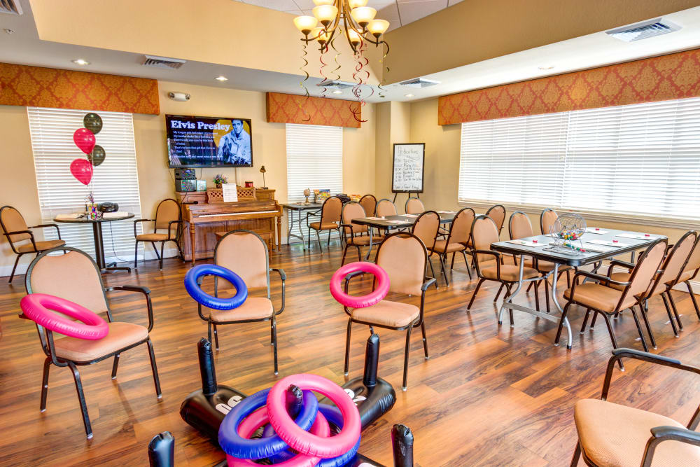 Activity room at The Villas at Sunset Bay in New Port Richey, Florida.