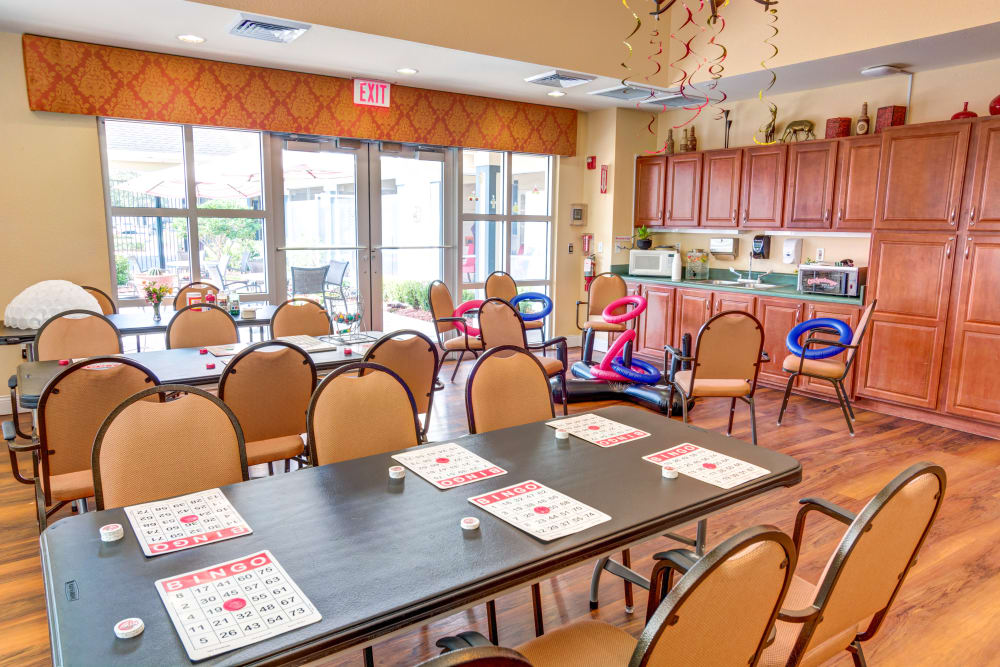 Activity room at The Villas at Sunset Bay in New Port Richey, Florida