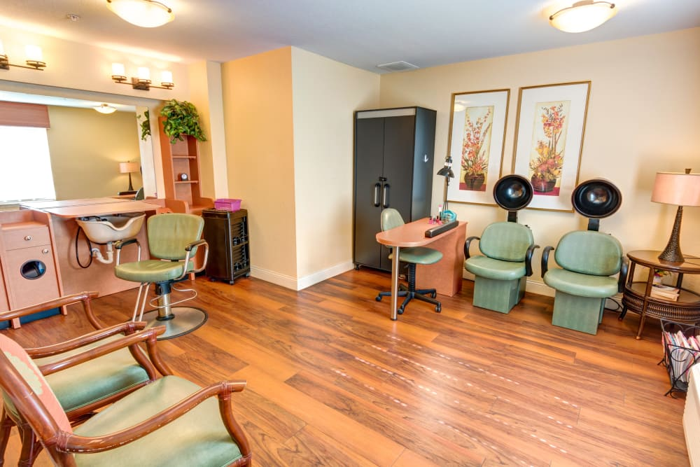 Salon at The Villas at Sunset Bay in New Port Richey, Florida.