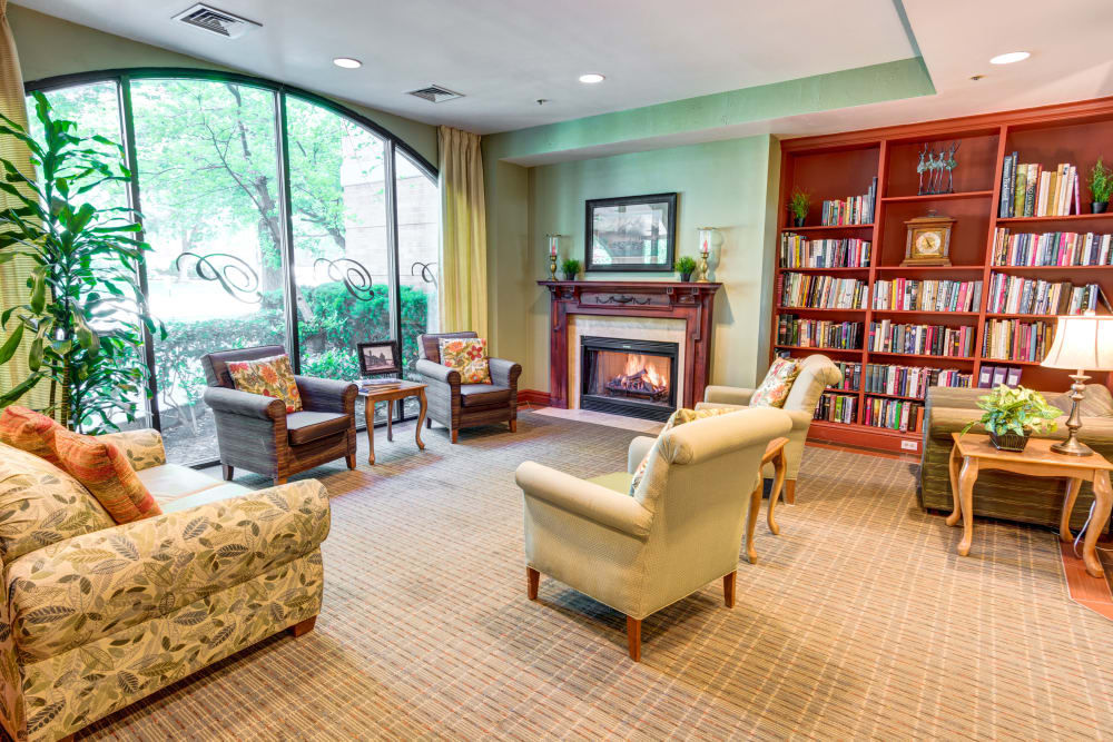 Reading room in The Wentworth at Parklane in Salt Lake City, Utah