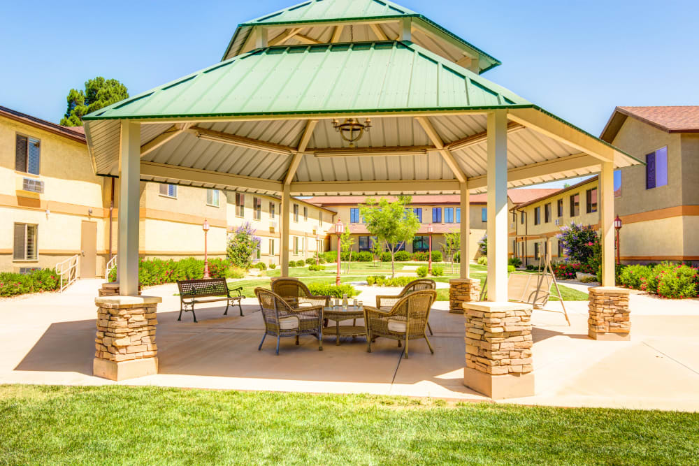 Shaded gazebo at The Wentworth at the Meadows in Saint George, Utah