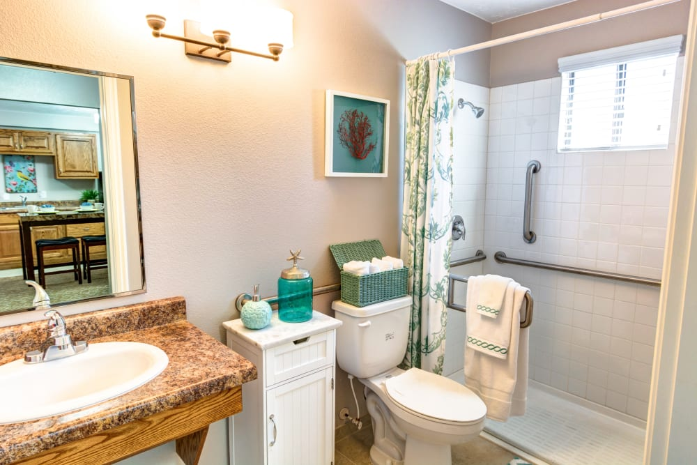 Resident living space' Bathroom at The Wentworth at the Meadows in Saint George, Utah