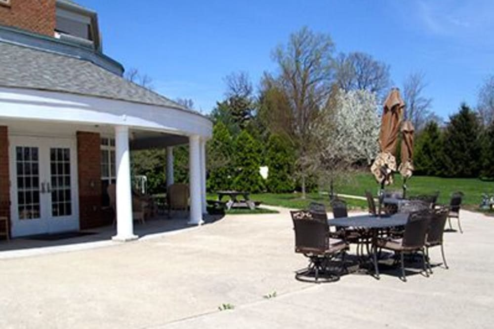 Soak up the sun on the back patio at Tranquillity at Fredericktowne in Frederick, Maryland.