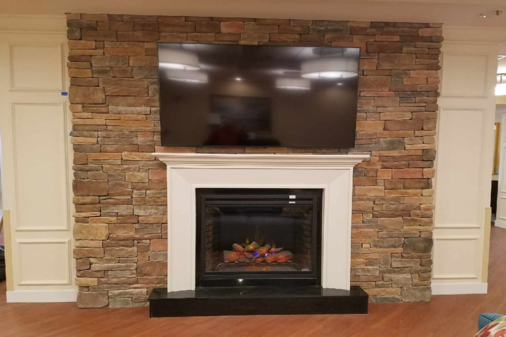 Fireplace in community area at Tranquillity at Fredericktowne in Frederick, Maryland