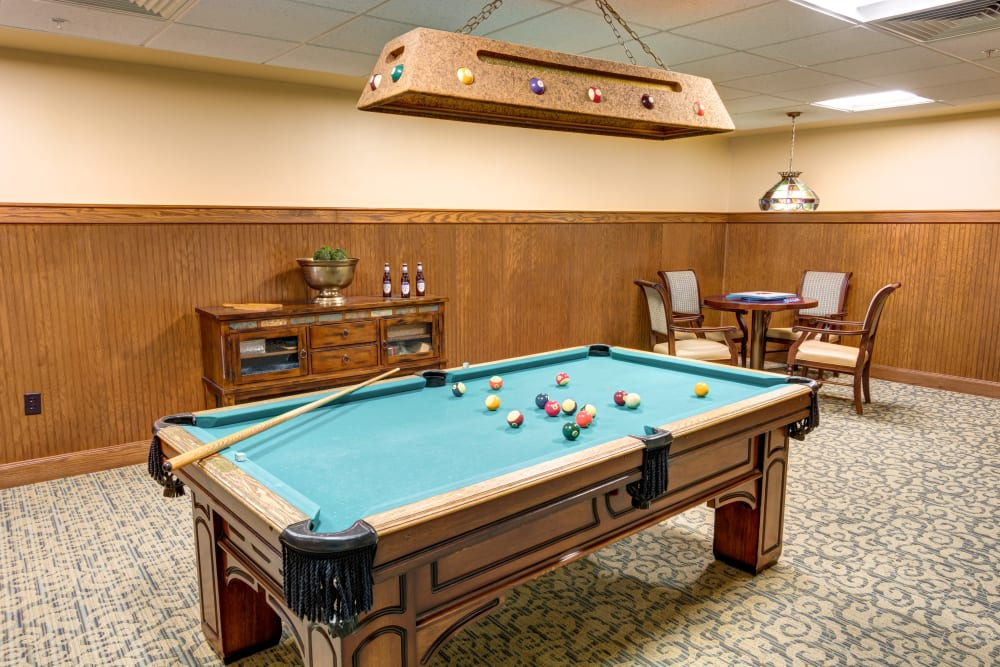 Billiards table at Woodland Heights in Little Rock, Arkansas