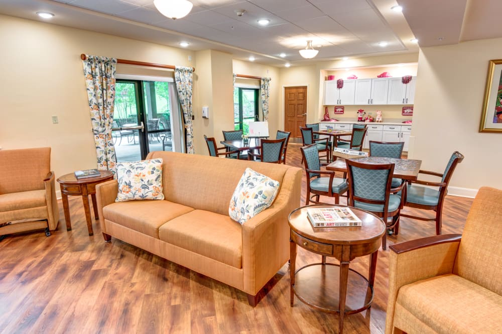Lounge in the community clubhouse at Woodland Heights in Little Rock, Arkansas