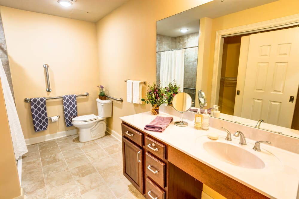 Model bathroom at Woodland Heights in Little Rock, Arkansas
