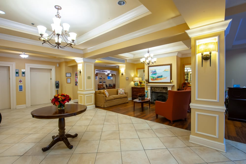 Beautiful lobby at Woodholme Gardens in Pikesville, Maryland
