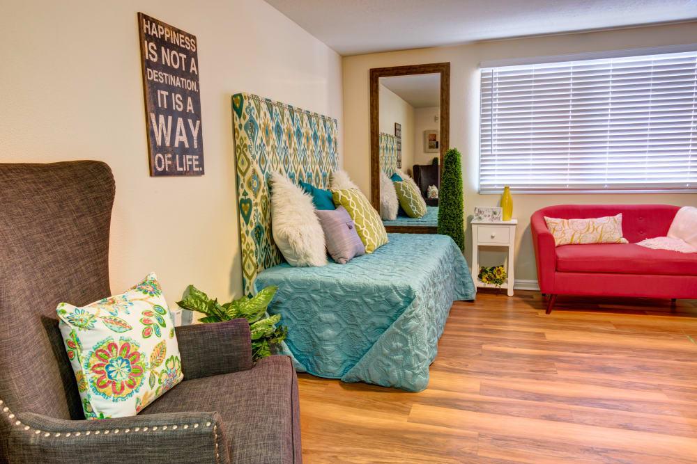 Studio model apartment furnished at The Wentworth at Draper in Draper, Utah