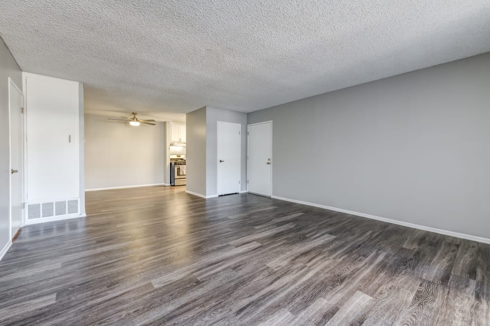 open living room view, vinyl floor throughout Kendallwood Apartments in Whittier, CA
