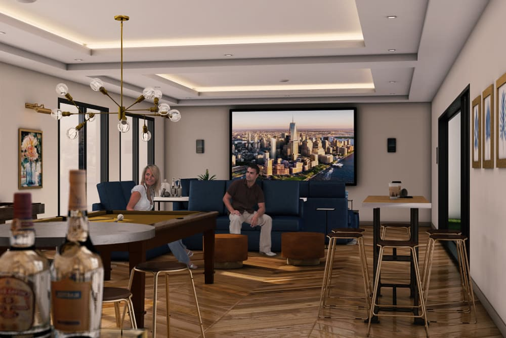 Rendering of a living room at Tribeca in Saint Louis, Missouri
