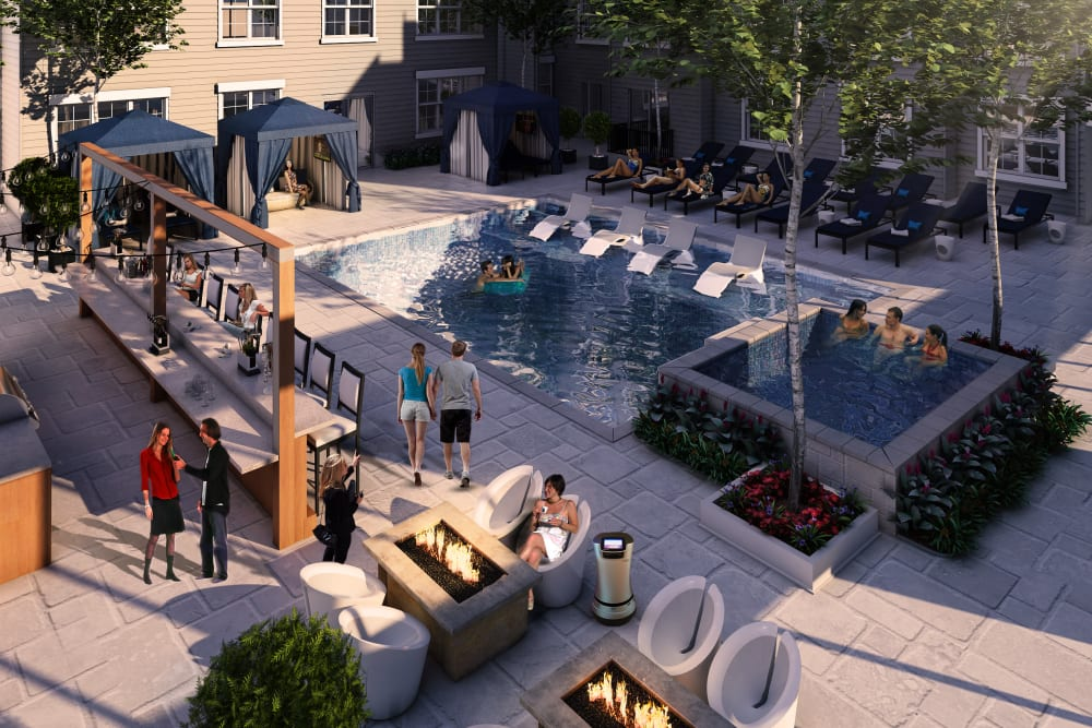 Rendering of Tribeca's sparkling swimming pool in Saint Louis, Missouri