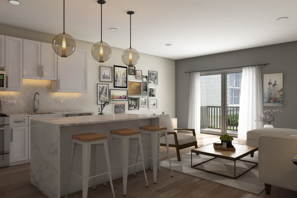 Rendering of a modern kitchen at Tribeca in Saint Louis, Missouri
