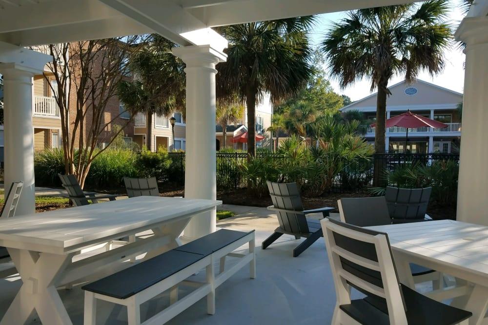 Picnic table near the pool at Ingleside Plantation Apartments in North Charleston, South Carolina