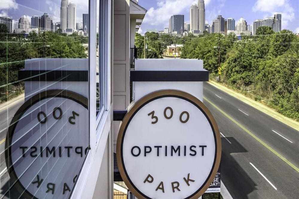 Front sign of 300 Optimist Park in Charlotte, North Carolina