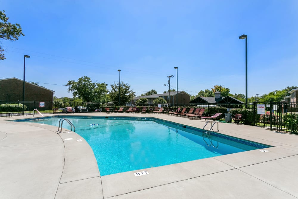Sparkling swimming pool at Audubon Park in Nashville, Tennessee