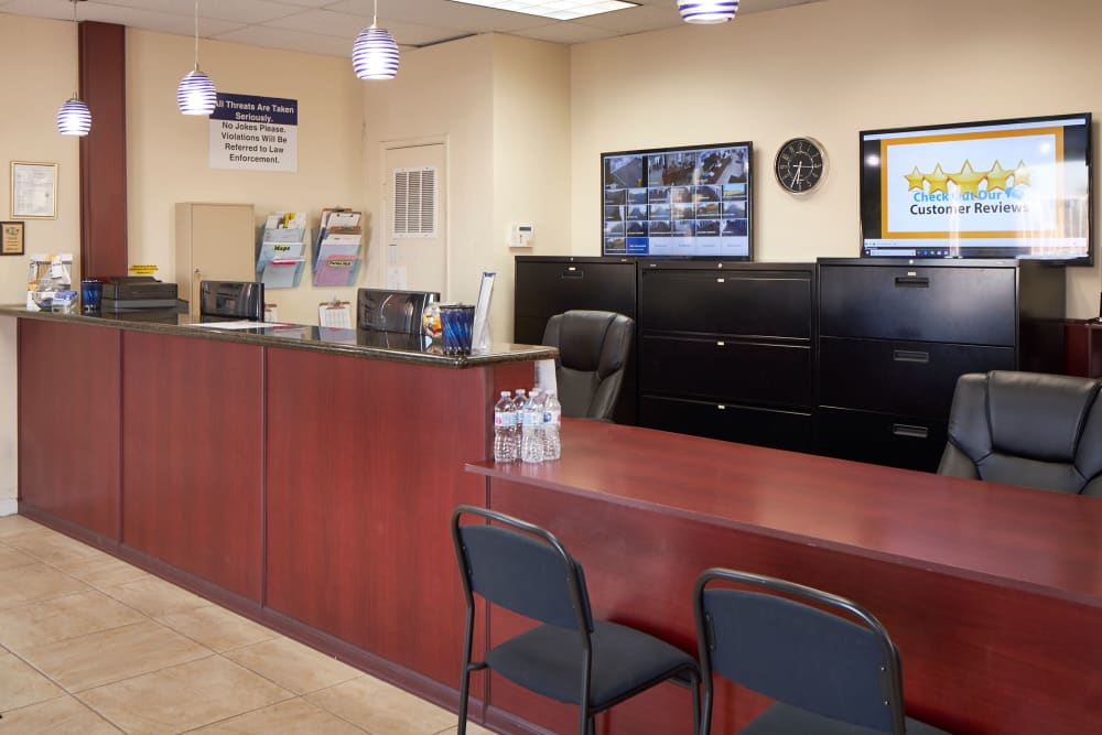 Office reception area at Stor'em Self Storage in San Marcos, California