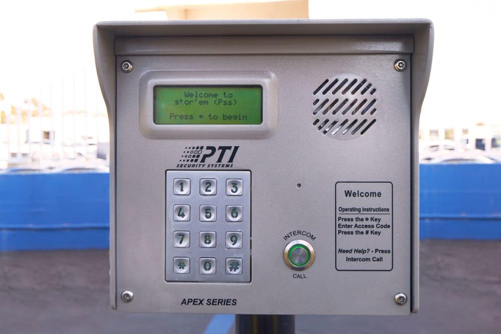 Keypad access at Stor'em Self Storage in Chula Vista, California