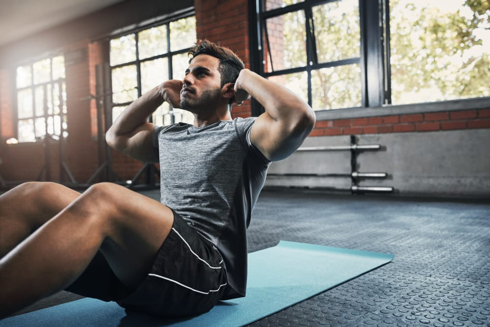 Resident working out at Deer Valley's fitness center in Guilderland, New York