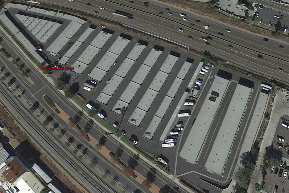 Aerial view of Stor'em Self Storage in San Marcos, California