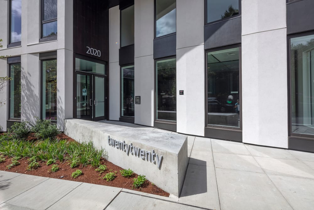 Signage and landscaping outside our community at TwentyTwenty Apartments in Portland, Oregon