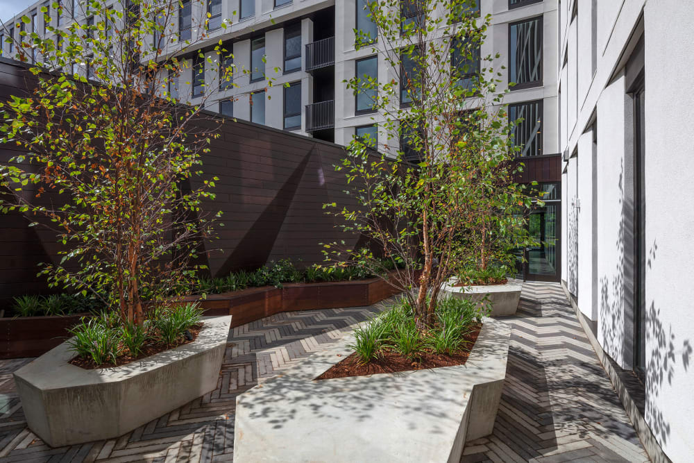 Unique architecture and landscaping in one of the outdoor common areas at TwentyTwenty Apartments in Portland, Oregon