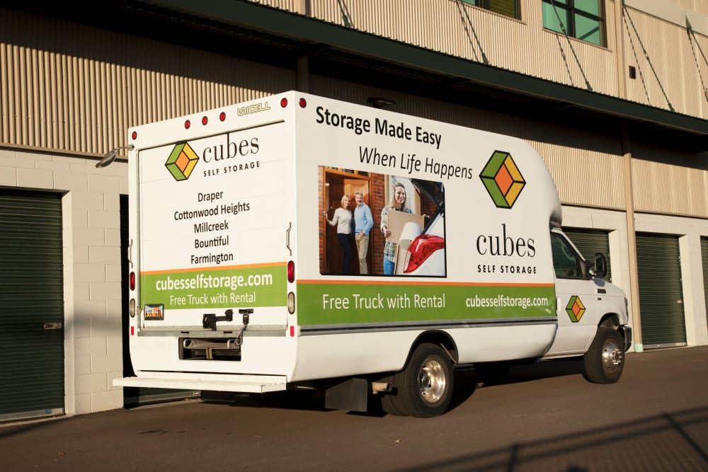 A moving truck from Cubes Self Storage in Farmington, Utah