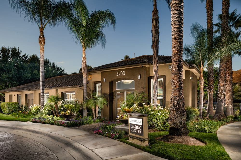 The leasing office exterior at Castlerock at Sycamore Highlands in Riverside, California