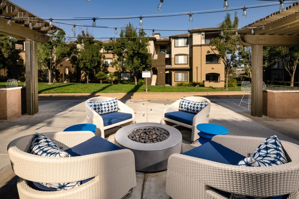 Inviting outdoor seating at Castlerock at Sycamore Highlands in Riverside, California