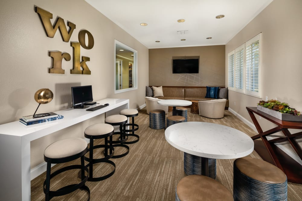 A work lounge at Castlerock at Sycamore Highlands in Riverside, California
