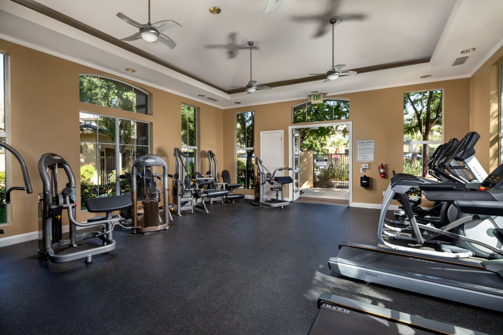 Exercise equipment in the gym at Castlerock at Sycamore Highlands in Riverside, California