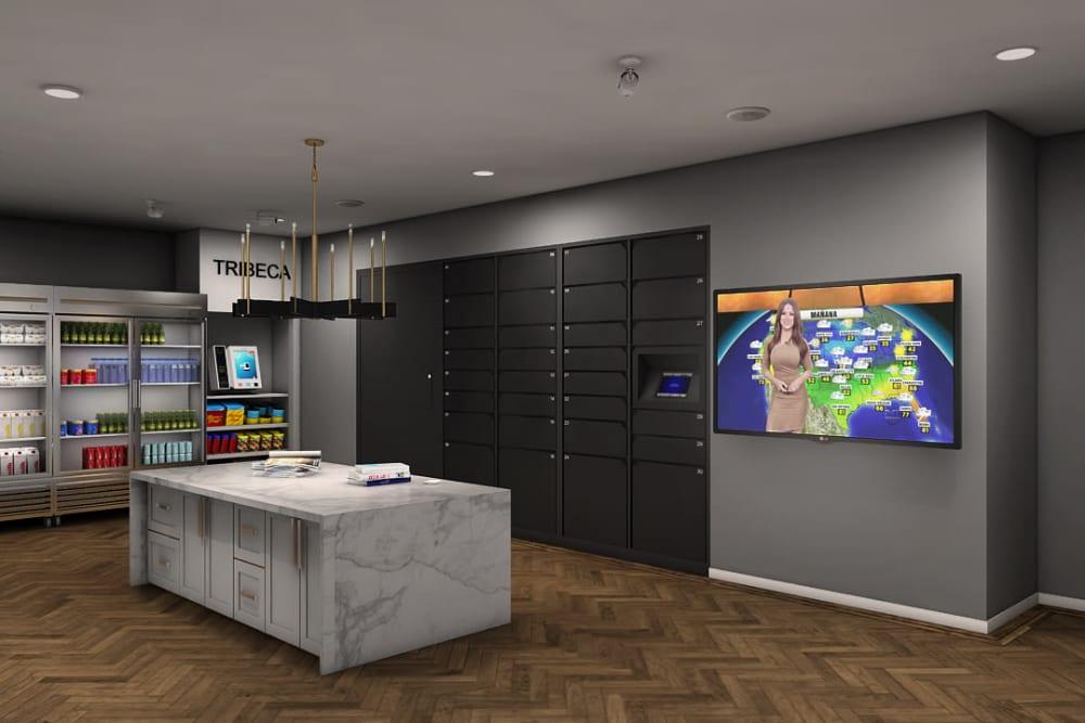 Rendering of Tribeca's convenient mail room in Saint Louis, Missouri