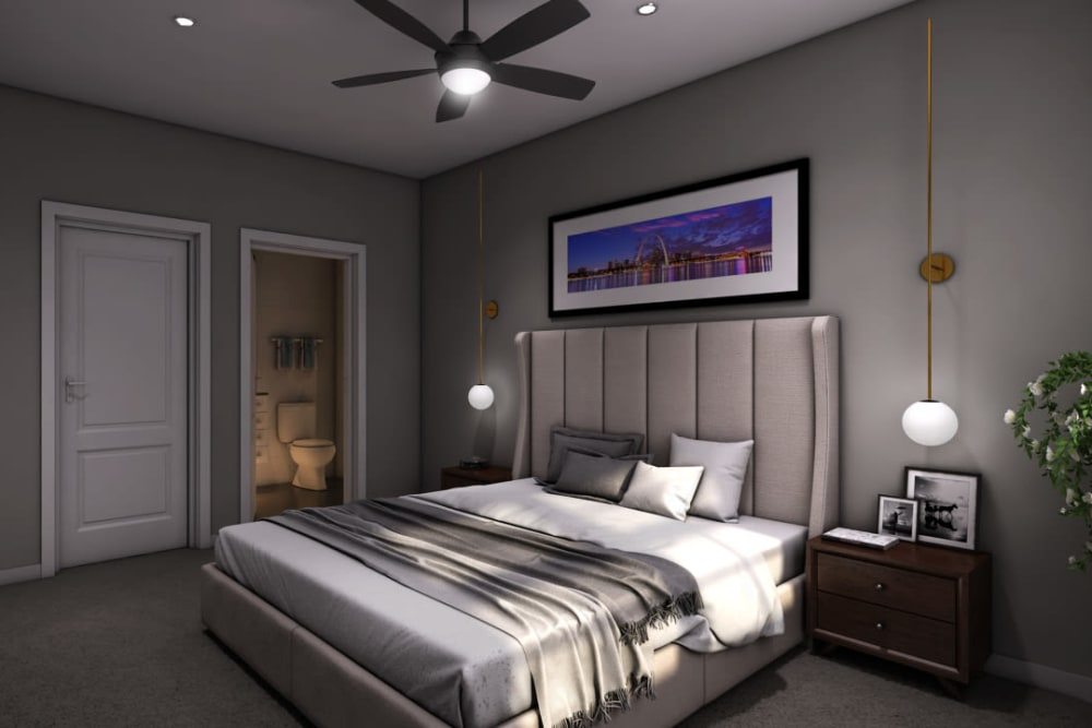 Rendering of a master bedroom at Tribeca in Saint Louis, Missouri