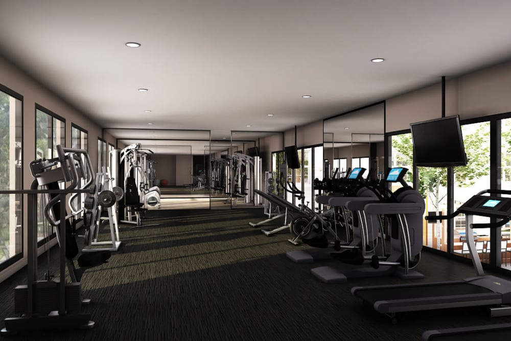 Rendering of Tribeca's fully equipped fitness center in Saint Louis, Missouri