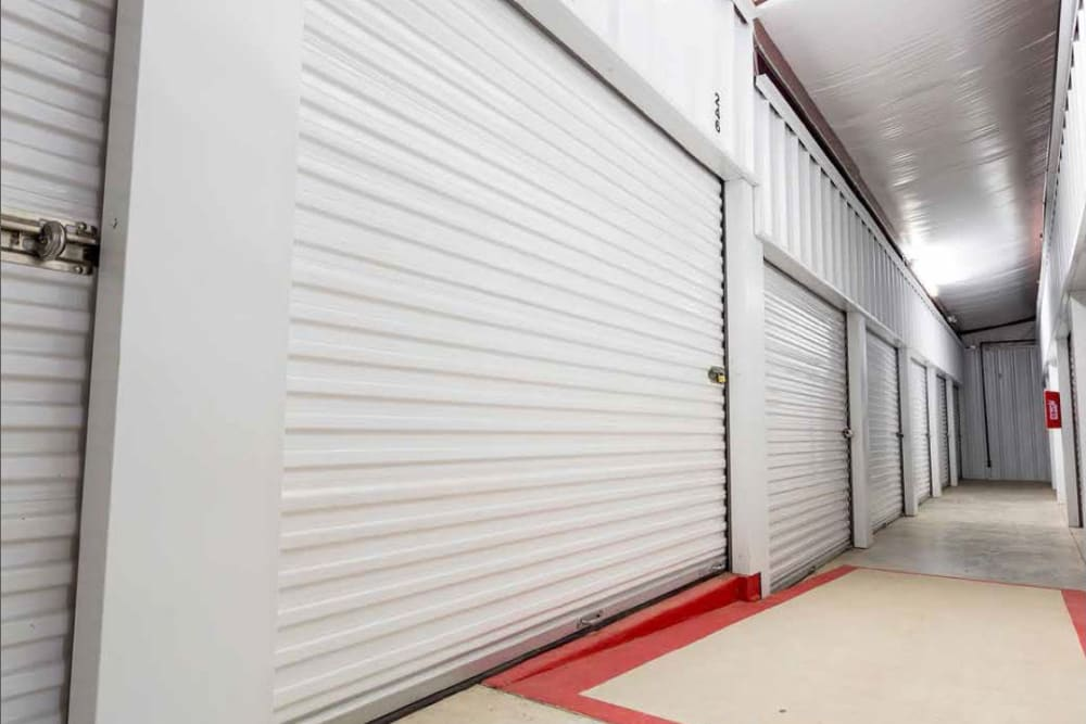 Interior storage units at Global Self Storage in Edmond, Oklahoma