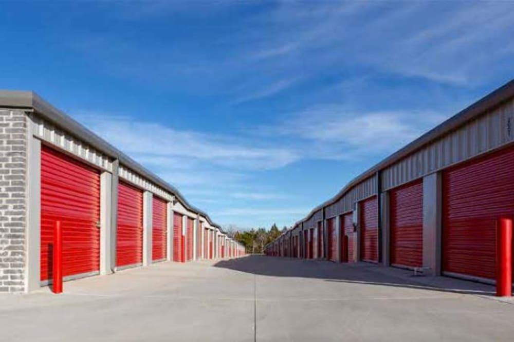 Wide driveway at Global Self Storage in Edmond, Oklahoma