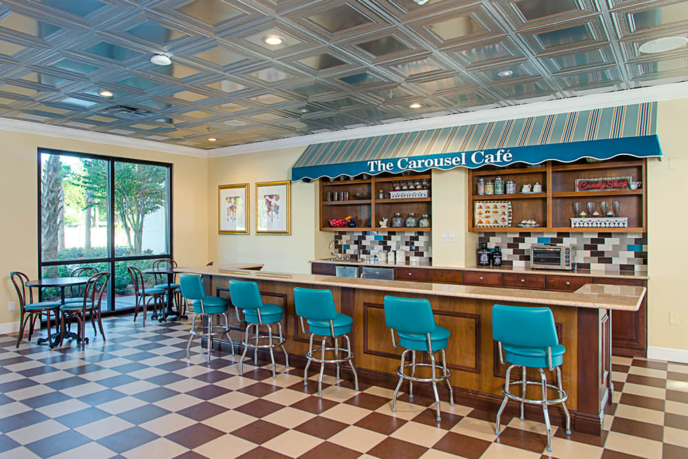 Blue stools at the cafe at Grand Villa of St. Petersburg in Florida