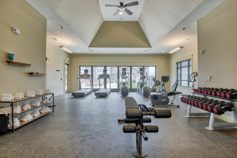 Boulders at Overland Park Apartments offers a Fitness Center in Overland Park, Kansas