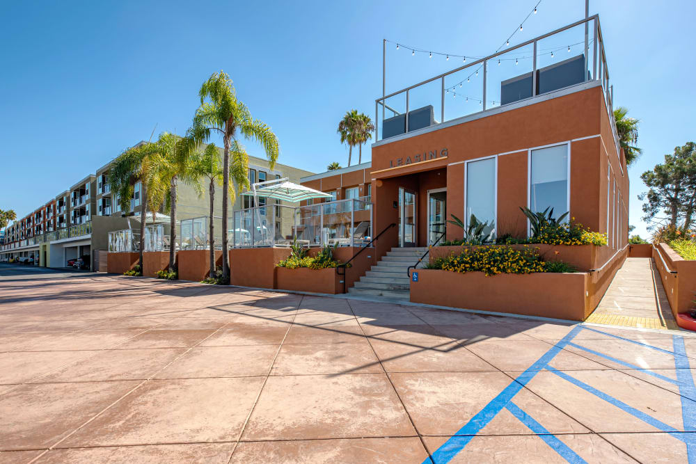 Exterior of the leasing office at Harborside Marina Bay Apartments in Marina del Rey, California