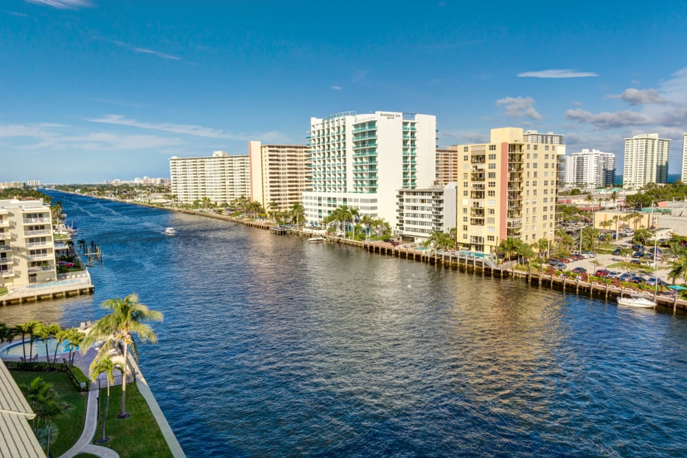 The river right outside of The Meridian at Waterways in Fort Lauderdale, Florida