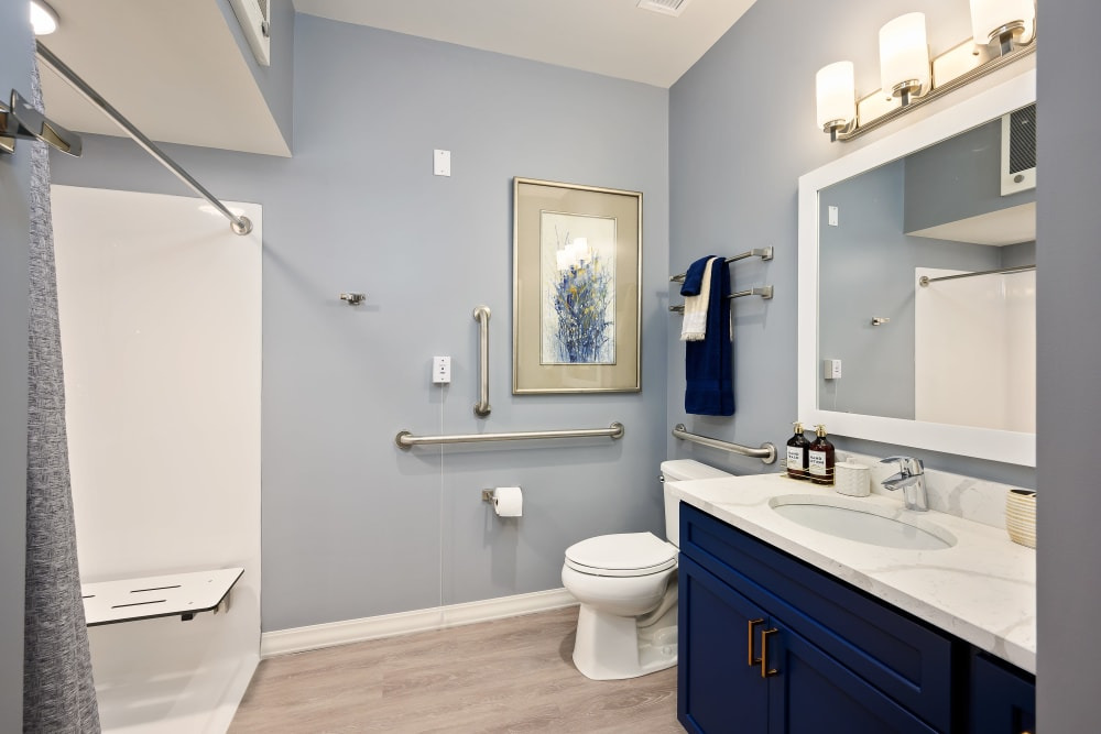 Large accessible bathroom at Anthology of Simsbury in Simsbury, Connecticut