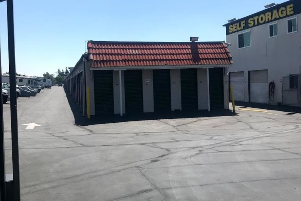 Drive-up storage units at Storage Solutions in Pomona, California