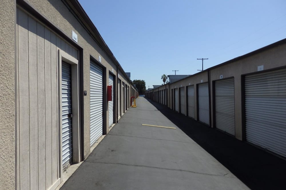 Storage units outside at Storage Solutions in Pomona, California
