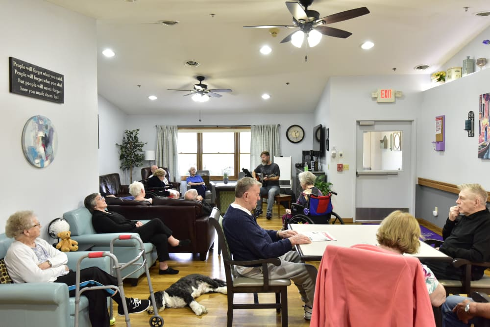Residents in the activity room at Reflections at Garden Place in Columbia, Illinois.