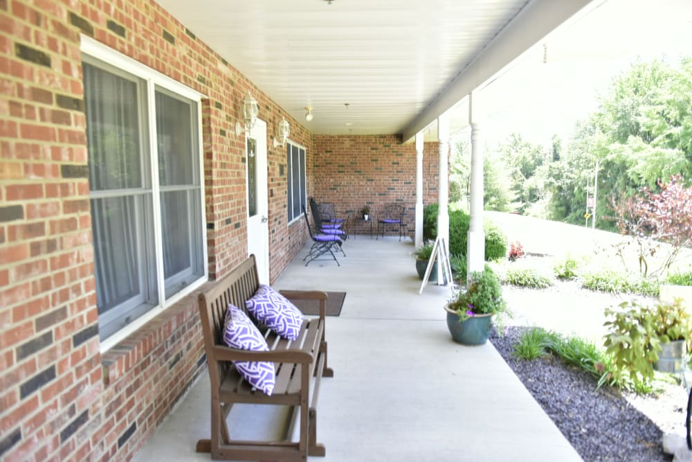 Covered porch at Reflections at Garden Place in Columbia, Illinois.