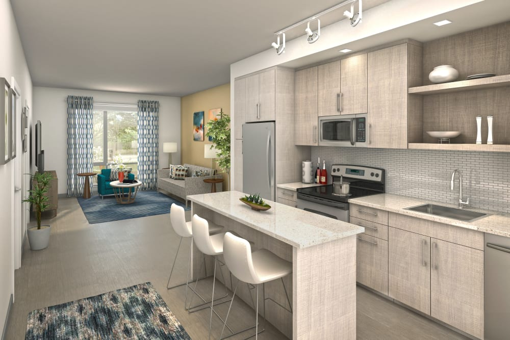 Rendering of an open-concept floor plan with a modern kitchen at Velō in Boston, Massachusetts