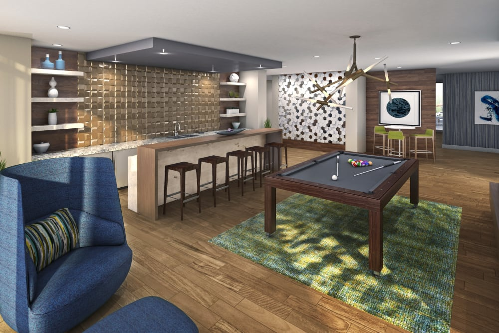 Rendering of the game room with a billiards table at Velō in Boston, Massachusetts