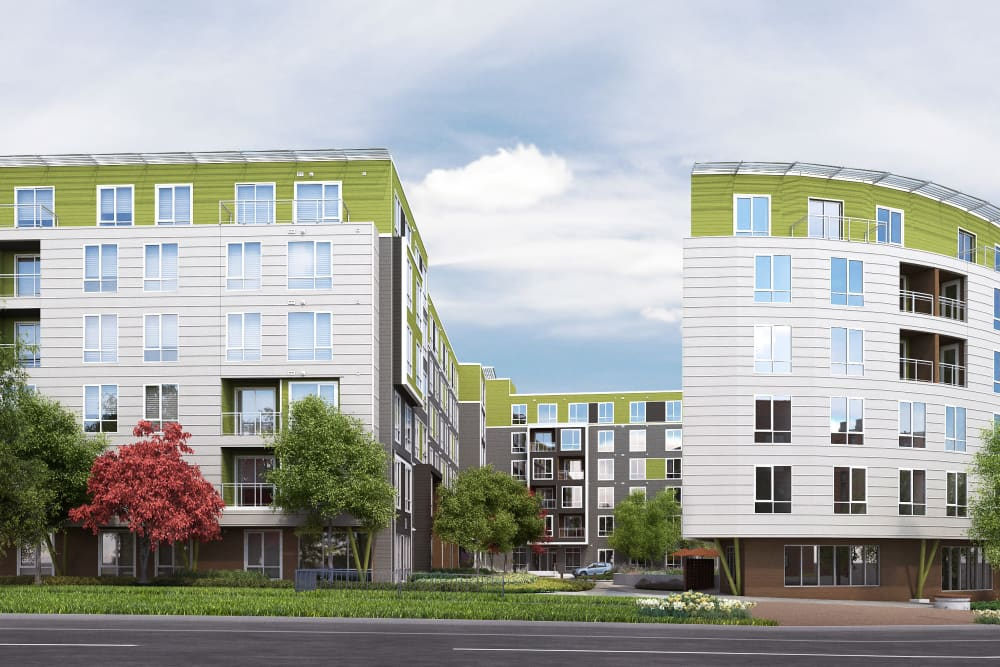Exterior rendering of our community from at street level at Velō in Boston, Massachusetts