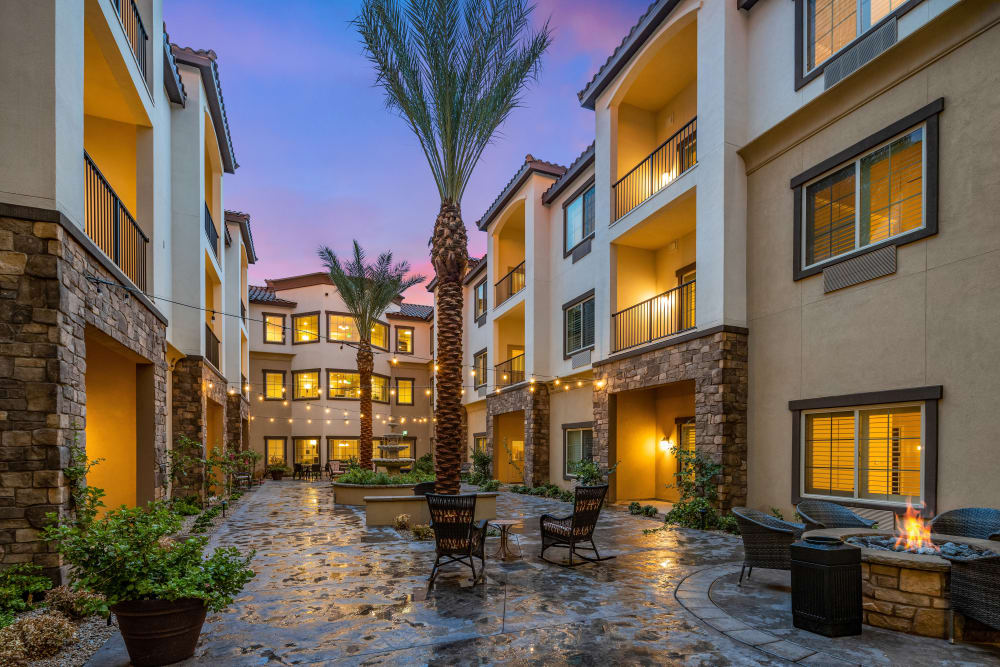 interior courtyard at The Park at Modesto Independent Living Community